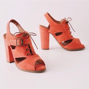 NWT Coral faux suede lace up peep toe heel
